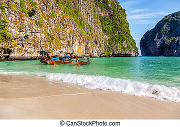 The famous beach of Maya on the island of Phi-Phi-Le in Thailand