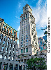 The famous Boston Custom House in the United States