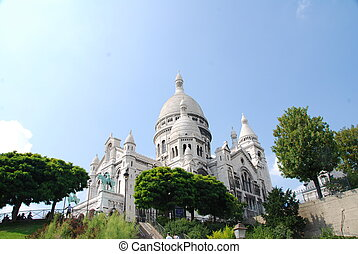 Sacre-Coeur - The Famous church of Sacre-Coeur, Montmartre,...