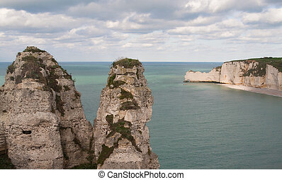 The famous cliffs at etretat, Normandy, France