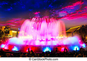 The famous Montjuic Fountain in Barcelona.
