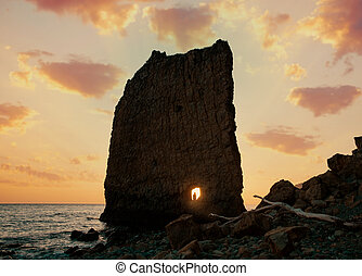 The famous natural monument, 'Sail Rock'. Located on the Black Sea coast near the town of Gelendzhik in the Krasnodar region.