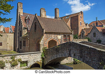 The famous old stone bridge in Bruges