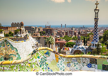 The famous park Guell in Barcelona, Spain