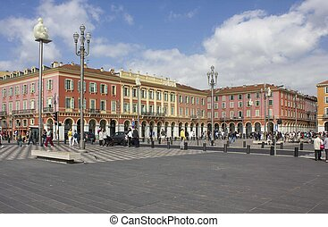 the famous place Massena in Nice, france, with its chess...
