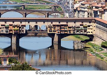 The famous Ponte Vecchio bridge in Florence, Italy