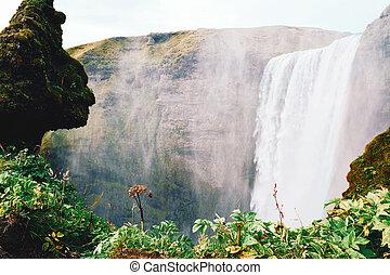 The famous Skogafoss waterfall.