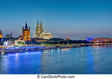 The famous skyline of Cologne with the river Rhine