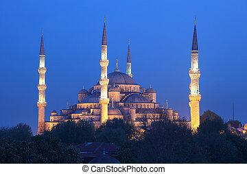 The famous Sultan Ahmed Mosque (Blue Mosque) in Istanbul,...