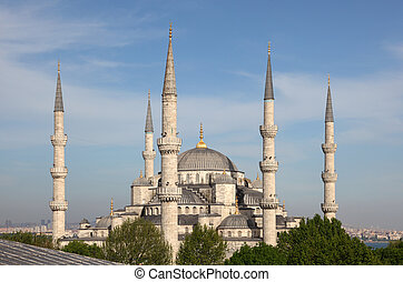 The famous Sultan Ahmed Mosque (Blue Mosque) in Istanbul, Turkey