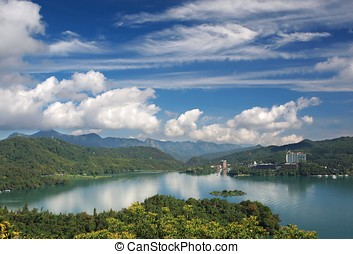 The Famous Sun Moon Lake in Taiwan - A partial view of the...
