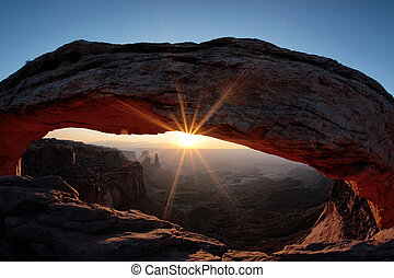 the famous Sunrise at Mesa Arch