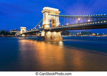 The Famous Szechenyi Chain Bridge in Budapest Hungary