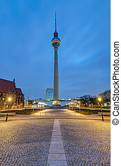 The famous Television Tower at the Alexanderplatz in Berlin
