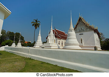 The famous temple Wat Ubosatharam in Uthai Thani. The...