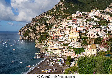 The famous tourist resort Positano on the italian Amalfi ...