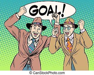 The fans scream goal pop art retro style. Sports football...