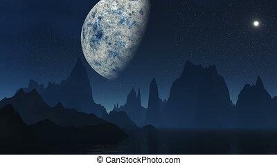 The fantastic moon against mountain