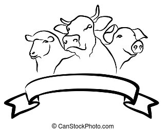 The Farm logo. - Logo farm with cows, pigs and sheep.