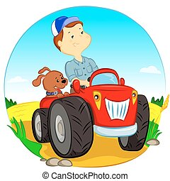 the farmer on the tractor