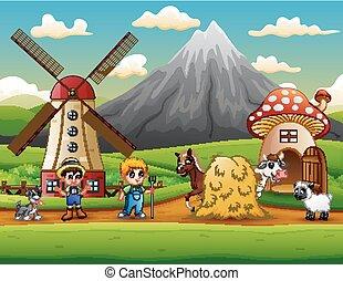 The farmers activity on the farm