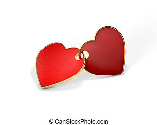 The fastened together red hearts