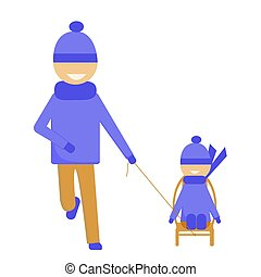 The father carries the child in a sled. Winter walk. Happy kid and dad are walking in winter. Isolated vector image on white background.