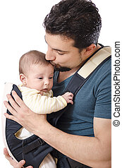 The father kiss and the baby