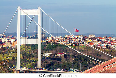 The Fatih Sultan Mehmet Bridge With Turkish Flag - The...