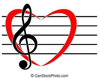 The favorite music - Treble clef and symbol of the heart