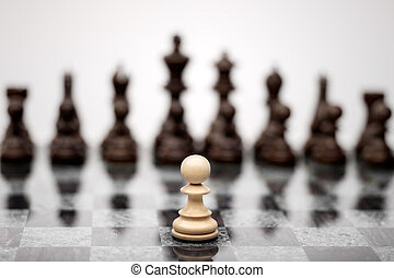 The fearless warior. - A pawn on the chequer before the...