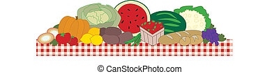 The Feast - A table filled with fruits and vegetables on a...
