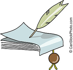 The feather writes the manuscript