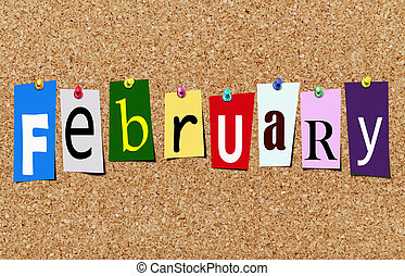 The february magazine cutout letters pinned to cork noticeboard
