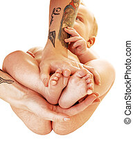The feet of a baby.