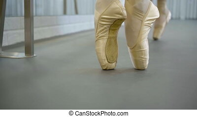The feets of two ballerinas in pointe, who does pas de...