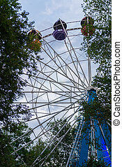 The Ferris wheel behind the trees in the park.