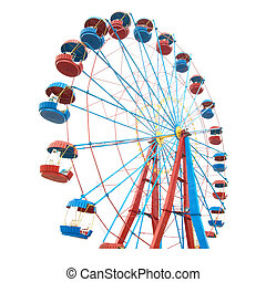 The Ferris wheel isolated on white background