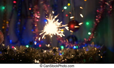 The festive fireworks sparkles. New Year's background. Move...