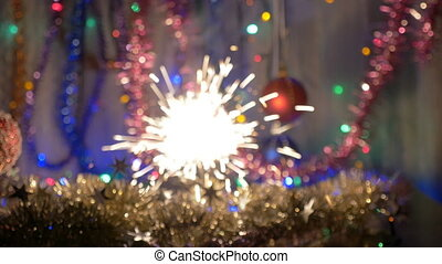 The festive fireworks sparkles. New Year's background....