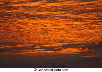 The fiery sky before sunrise, Indian Ocean, Maldives