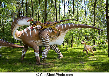 the fight - Jurassic park - set of dinosaurs - fight between...