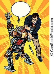 The fight of a man and armed robot pop art retro style....