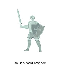 The figure of a knight in gray armor, a sword and a shield on a white background