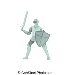 The figure of a knight in protection pose on a white background