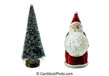 The figure of Santa Claus and Christmas tree on a white background.