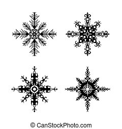 set of snowflakes on a white backgr