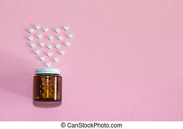 The figures of pills on the background