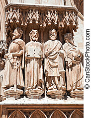 The figures of saints in the Catholic cathedral.