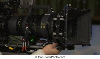 The Film Set Camera Big Lens - Anamorphic film zoom lens...